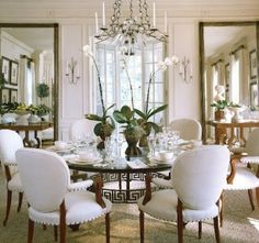 Mirrors flanking French Doors