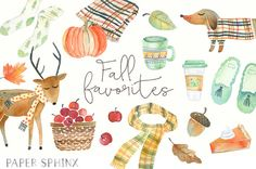17 autumn essentials elements, hand-painted in watercolors. Includes plaid accessories, deer, pumpkin, fall leaves, apples, cozy sweater dog, coffee and more.
