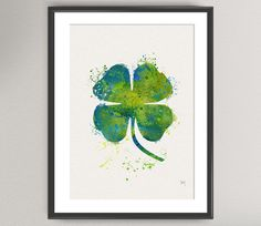 Lucky Clover Four Leaves Nº1 Watercolor Art Print - Leaf Leaves lucky leaf Ink Painting illustrations Art Wall Art Poster Giclée Wall Decor