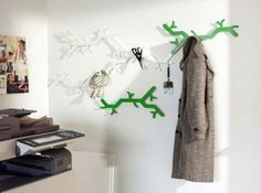 Unique Wall Hooks Tree Design White And Green