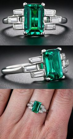 Emerald, Diamond & Platinum Ring at A delicate basket weave in baguette diamonds frame this incredibly high quality emerald. This fine Colombian gem emerald is close to flawless to the naked eye, a rare occurrence in emerald, and. Platinum Diamond Rings, Emerald Diamond, Emerald Rings, Emerald Cut, Art Deco Jewelry, Fine Jewelry, Jewelry Design, Jewellery, Ring Verlobung