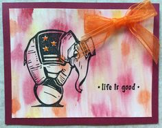 T. Holtz Big Top elephant card with watercolored background