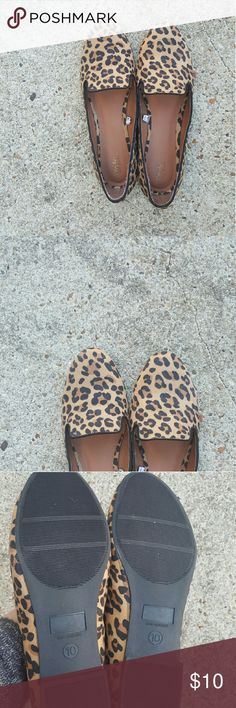 Leopard print flats. Worn twice! Leopard print flats from Mossimo. Size 10. I wore these like two times but due to an injury, one of my feet has grown so they don't fit! In like new condition. Mossimo Supply Co Shoes