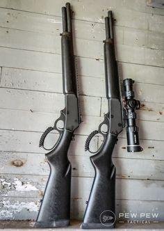 The Marlin Firearms Dark Series Model 1895 in Gov't (left) and the Dark Series Model 1895 in Win (right). Weapons Guns, Guns And Ammo, Survival Weapons, Tactical Survival, Firearms, Shotguns, Revolvers, Lever Action Rifles, Military Guns