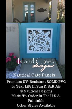 Custom Exterior PVC Vinyl Shutters w/ Nautical Cutouts, Decorative Exterior PVC House Trim, Nautical Vinyl Porch Railing Panels & Gates. Porch Gate, Deck Gate, Stair Gate, Exterior Vinyl Shutters, Vinyl Gates, Key West Style, Entryway Stairs, Custom Gates, Turtle Swimming