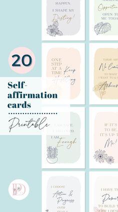 "Printable self-affirmation cards with positive affirmations, 20 cards, size: 3.5""x5"", digital download. Download, print & cut. Also great as vision board cards, framed office desk decor, bookmarks! Visit shop now to see more. #positiveaffirmations #selfaffirmations #affirmationcardsprintable #affirmationsforwomen #printablecards #etsyprintables #floralpositivecards #printableaffirmations #dailypositiveaffirmations #positivecards #positivitycards #positivemindset #motivationalcards"