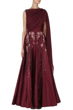 Ek Soot Featuring a burgundy padded anarkali gown in dupion silk base with kamdani embroidery with an attached draped dupatta in flat chiffon base. Indian Gowns, Pakistani Dresses, Indian Outfits, Indian Clothes, Indian Party Wear, Indian Wear, Anarkali Gown, Anarkali Suits, Indian Look