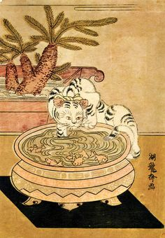 estampe japonaise    Probably recent. A cat at a Fish-Bowl. Koryusai, 1770. Reproduction of a very nice japanese print.