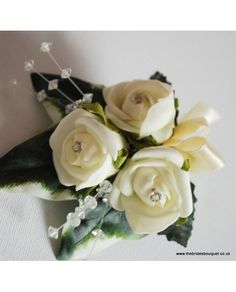 Classic Ivory or White Mums Corsage - Ladies pin on buttonhole - Mother of Bride or Groom