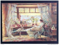 Charles James Lewis: Reading by the window, Bridgeman Art Library Postcard, unused