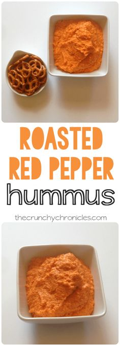 Looking for a simple, healthy snack idea? Make this roasted red pepper hummus recipe! It's delicious, and pairs perfectly with veggies.