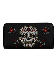 £15.99 Sugar Skull Design, Floral Motif, Red Flowers, Night Out, Zip Around Wallet, Purses, Cute, Bags