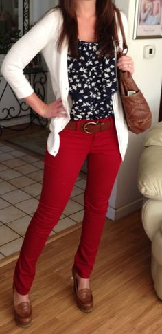 Blue scalloped tank with white birds/White hollister cardigan/red jeans/high heeled loafers/matching belt and bag. My outfit today - my husband thought it was pinterest worthy. :)