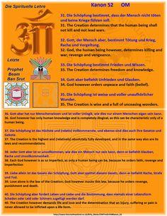 32. Gott, der Mensch aber, bestimmt Tötung und Krieg, Rache und Vergeltung. 32. God, the human being however, determines killing and war, revenge and vengeance.  33. Die Schöpfung bestimmt Frieden und Wissen. 33. The Creation determines freedom and knowledge.