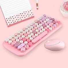 Candy Color Wireless Keyboard and Mouse Set – Juwas Gaming Room Setup, Pc Setup, Things That Bounce, Cool Things To Buy, Kawaii Bedroom, Otaku Room, Game Room Design, Gamer Room, Nerd Room