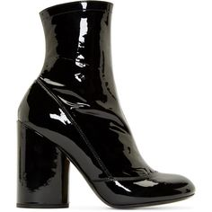 Marc Jacobs Black Patent Vivian Boots (2.690 BRL) ❤ liked on Polyvore featuring shoes, boots, black, zipper boots, black shoes, black patent boots, black patent leather shoes and ankle high boots