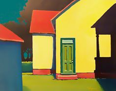 """""""GREEN DOOR GEOMETRY"""" - a partial view of Carl Lockhart home stead on Alice Road, Gilmer Co., WV.   Won 1st place in the Biannual WV Guild Juried Exhibition and later sold during its showing in an International  Pittsburgh Watercolor Society Exhibition to a private collector"""