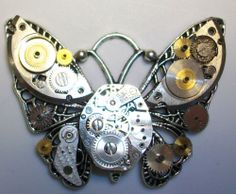Butterfly Steampunk Pendant with Watch Parts by Rebecca Weber