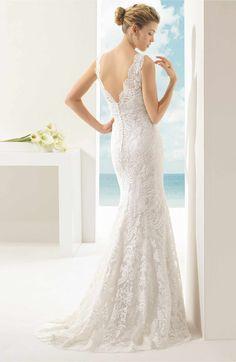 Main Image - Rosa Clara 'Vigo' Beaded V-Neck Lace Overlay Mermaid Dress (In Stores Only)