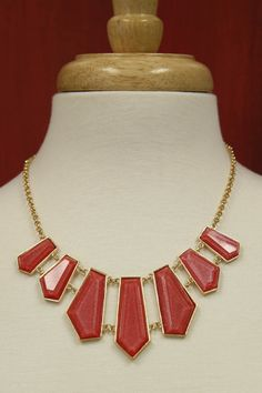 Seven Stone Hot Coral Necklace