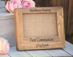First Communion Gift - First Communion Picture Frame - Personalized Picture Frame - Personalized Baptism Gift - Confirmation Frame - Gifts by CountryBarnBabe on Etsy https://www.etsy.com/listing/287779985/first-communion-gift-first-communion