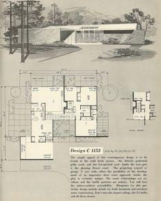 Design C-1153 Vintage house plans, 1960s house plans,                                                                                                                                                                                 More