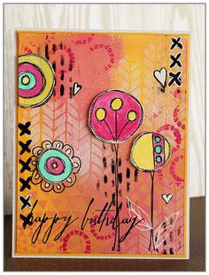 Yasmina Tinsang fun and bright birthday card using TCW stencils