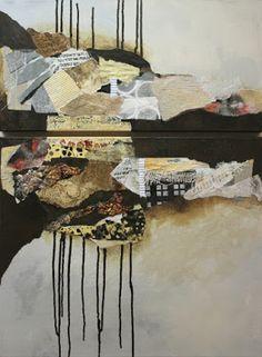 "CAROL NELSON FINE ART BLOG: Mixed media collage painting, ""Billboard 8"" by Colorado Mixed Media Artist Carol Nelson"