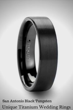 Black Tungsten Wedding Ring In Variable Widhts With A Brushed Finish Elegant Engagement Rings Unique Anium