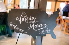 Love this wedding sign - chalkboard map of USA