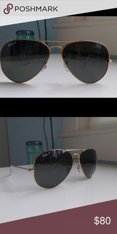 Gold Ray Ban Aviator 58 MM Polarized Re-selling an authentic pair of Ray Ban aviators: gold frame with green lenses. Glasses are polarized and come with their original case. These are the 58 MM size. Perfect condition! Ray-Ban Accessories Sunglasses