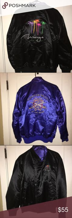 Retro reversible bomber jacket Retro satin Mirage Las Vegas treasure island bomber jacket. Like new condition would fit a small medium oversized but not ridiculously big would fit a large perfect. Hidden Zipper with 2 buttons at bottom and a button at the collar - hipster street look jumper coat vintage 80's 90's palm trees swords treasure Vintage Jackets & Coats