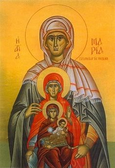 Orthodox icon of the Foremothers of our Jesus Christ: Saint Maria, the mother of Saint Anna, Saint Anna -mother of Theotokos-, Theotokos with Christ. Icon of cent. Monastery of Theotokos of Saidanaya, Jerusalem.