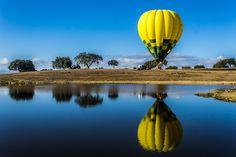 Una laguna, unas #encinas y un #globo, una imagen normal en el Parque #TajoInternacional con Extremadura en Globo