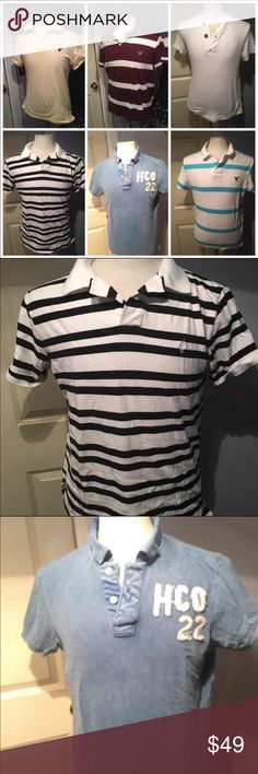 Lot of 6 MEN'S SHIRTS SALE Sizes are M and L but they all fit like Medium I won't separate, it's 6 shirts No holes and no stains Some of them wore once All clean and I wash them all before sending them Brands are Polo shirt, American eagle, Hollister It's my Lowest, check my closet! It's My LOWEST Shirts Polos