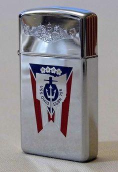 Vintage Zippo Cigarette Lighter, U.S. Navy, USS Ohio, SSBN 726, Dated 1981.