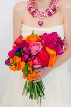 Love This Super Bright & Vibrant Bouquet: Fuchsia Peonies, Red English Garden Rose, Orange, Pink, Hot Pink Ranunculus, Purple Tulips, Orange Spray Roses, Hot Pink Lilac, Cobalt Blue Anemones, Emerald Foliage^^^^