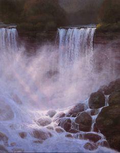 """""""Bridal Veil Dawn, Romans 12:15,"""" Thomas Kegler, oil, 24 x 18"""", available through the artist. Romans 12 15, Art Thomas, Oil Water, Natural Wonders, American Artists, Continents, Niagara Falls, Veil, Dawn"""