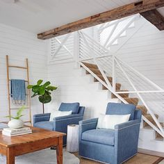 Currently obsessing over this living room by @rethinkdesignstudio via @crlaine The stair railing is perfection. So modern and casual/chic at the same time. #livingroomgoals #crlaine #whitedecorweekends #upholstery #shiplap #modernfarmhousestyle #shiplapwalls http://ift.tt/1JhoRaY