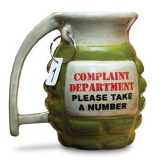 Army Hand Grenade Coffee Mug or Desk Tea Cup Complaint Department Take A Number | eBay
