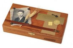 Recycle a cigar box into a treasured keepsake box using old family photos, raw materials, textiles and antiqued embellishments.