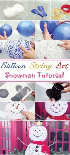 Balloon String Art Snowman Tutorial