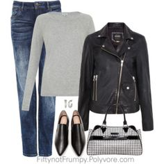 denim leggings/gray shirt/leather Jacket/black shoes - add red purse