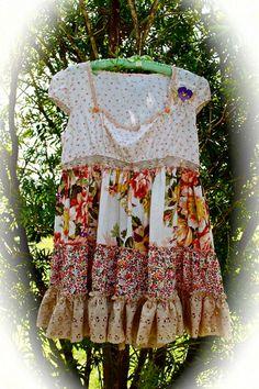 Boho Flutter Dress Ruffled Romantic Gypsy Cowgirl by IzzyRoo