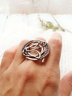 Wire wrapped Fox ring - Wire copper jewelry - Boho style - Gift for women - Circle ring - Statement ring by Ursula jewelry