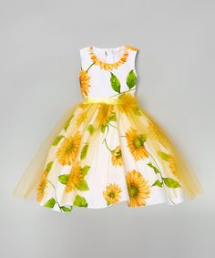 White & Yellow Sunflower A-Line Dress - Infant Toddler & Girls