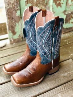 Ariat Womens Primetime Gingersnap & Baby Blues Square Toe Boots 10025032 - Ariat Womens Boot - Ideas of Ariat Womens Boot Cute Cowgirl Boots, Cute Cowgirl Outfits, Womens Cowgirl Boots, Cute Boots, Dress With Boots, Jeans And Boots, Western Shoes, Country Boots, Square Toe Boots