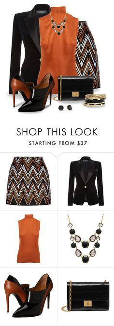 """""""Black and Orange"""" by snickersmother ❤ liked on Polyvore featuring DKNY, Balmain, Maison Margiela, INC International Concepts, Kate Spade, Ralph Lauren Collection, Mulberry and GUESS"""