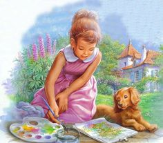 Martine de Marcel Marlier Marcel, Illustrations, Book Illustration, Vintage Cards, Vintage Images, Still Life Drawing, Painting For Kids, Dog Art, Clipart