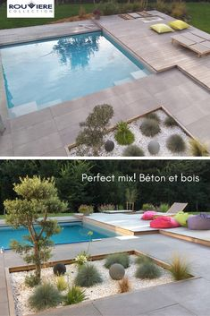 Large swimming pool with a wooden terrace and concrete slabs of cm. Their thickness of 4 cm makes it possible to put them on studs, without joint. Model Grésé hue Gray Berg n ° pool rnrnSource by